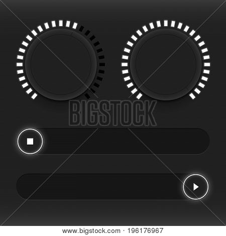 Set of buttons and sliders. Luminous neon control user interface. Sound management. Web Icons. White sliders on and off. Vector illustration