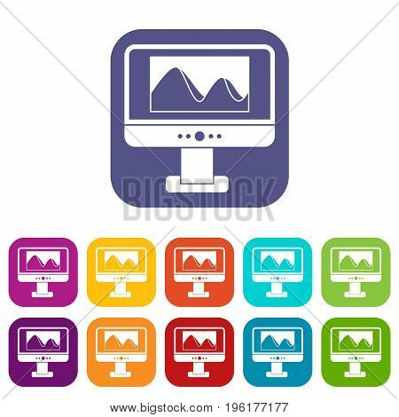 Computer monitor with photo on the screen icons set vector illustration in flat style in colors red, blue, green, and other