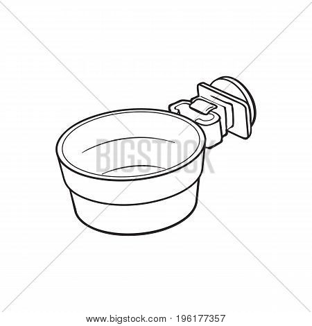 Attachable plastic pet, cat, dog bowl for kennels and crates, sketch style vector illustration isolated on white background. Hand drawn plastic bowl for feeding pets, cat dogs with attachment bracket