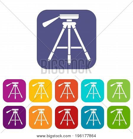 Tripod icons set vector illustration in flat style in colors red, blue, green, and other