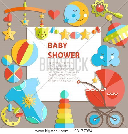 Vector flat infancy bacground. Baby products. Decoration frame, bright illustration