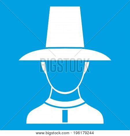Korean soldier in historic uniform icon white isolated on blue background vector illustration