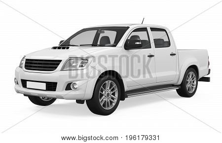 Pickup Truck isolated on white background. 3D render