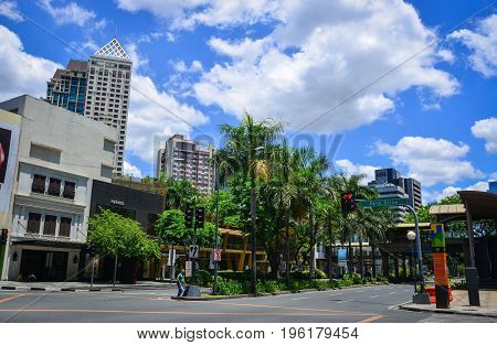 Street At Makati District In Manila, Philippines