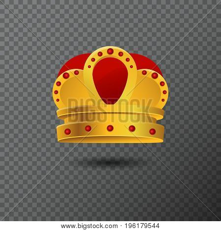 Golden crown icon with red stones. Luxury vector illustration. Realistic diadem created by gradient. Glossy realistic jewel used for a logo, label, certificate or diploma creations.