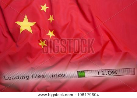 Downloading Files On A Computer, China Flag