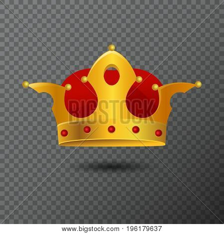 Vector icon of golden crown with red stones isolated on background. Volume royalty diadem created by gradient. Shiny realistic jewel used for a logo, label, certificate or diploma creations.