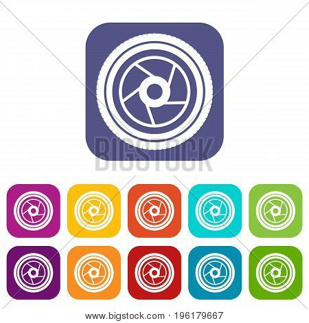 Camera aperture icons set vector illustration in flat style in colors red, blue, green, and other