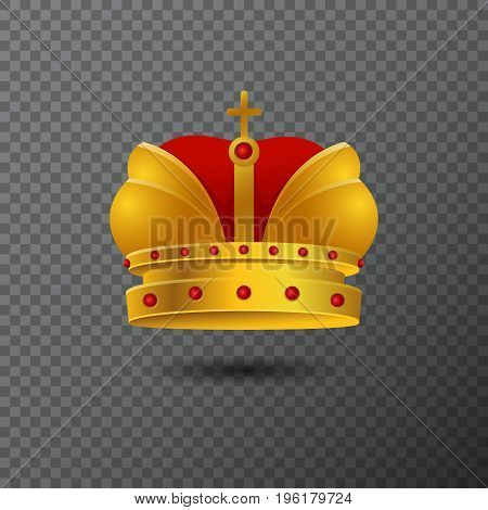 Vector icon of golden crown with red stones and cross. Volume gradient diadem isolated on background. Shiny realistic jewel used for a logo, label, certificate or diploma creations.