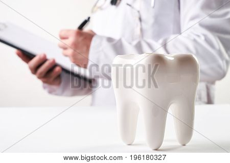 Young male dentist and white healthy ceramic molar tooth model in dentist's office. Dental care dentistry concept .