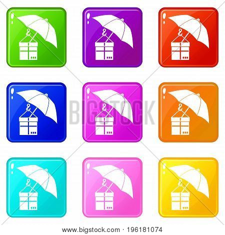 Umbrella and a cardboard box icons of 9 color set isolated vector illustration