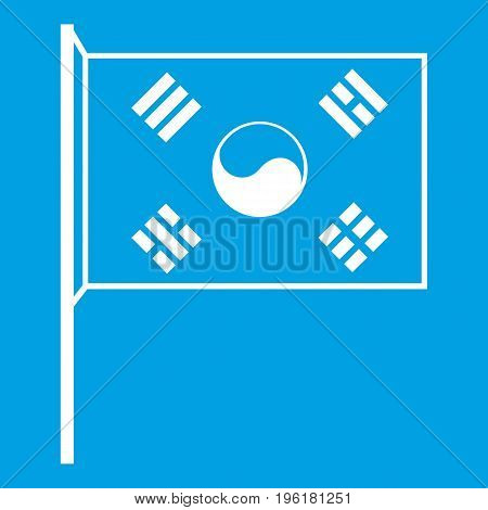 South Korea flag icon white isolated on blue background vector illustration