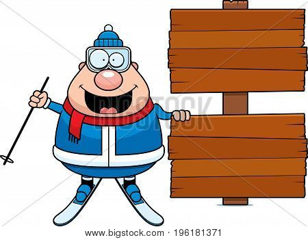 Cartoon Skier Sign