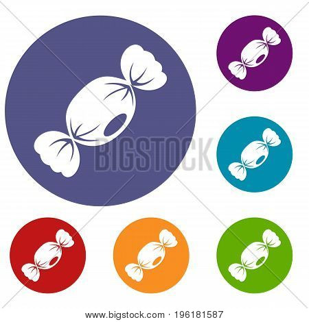 Small candy icons set in flat circle red, blue and green color for web