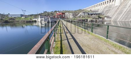 Gabriel y Galan reservoir Caceres Spain. Hydro-electric plant area. Panoramic shot