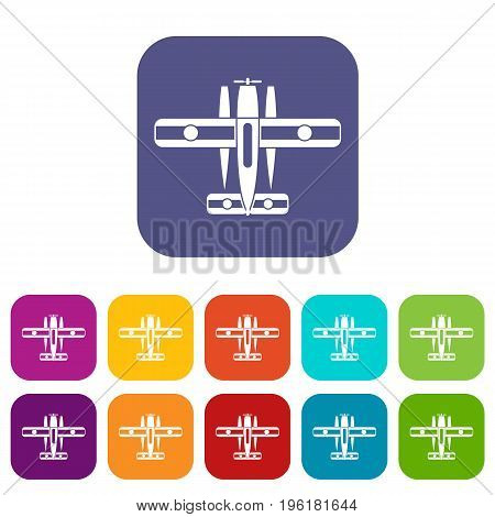 Ski equipped airplane icons set vector illustration in flat style in colors red, blue, green, and other