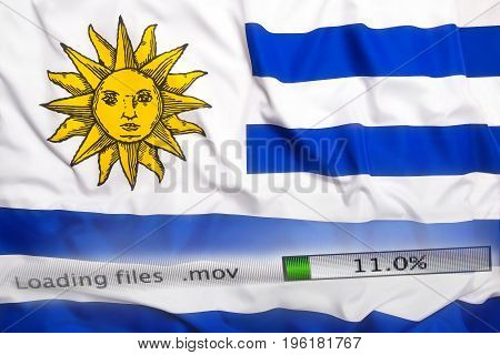 Downloading Files On A Computer, Uruguay Flag