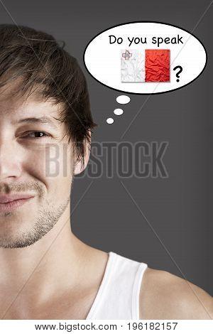 Handsome student thinks do you speak Maltese?