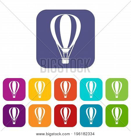 Hot air ballon icons set vector illustration in flat style in colors red, blue, green, and other