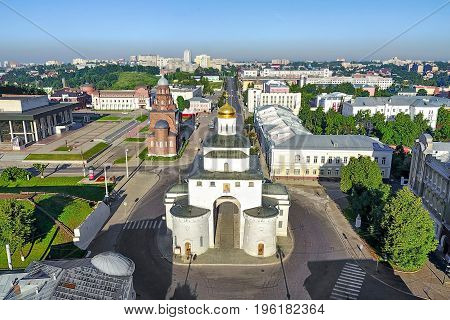 Aerial view on Golden Gate - historical city gate of Vladimir Russia