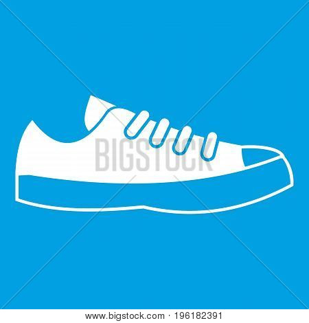 Sneakers icon white isolated on blue background vector illustration