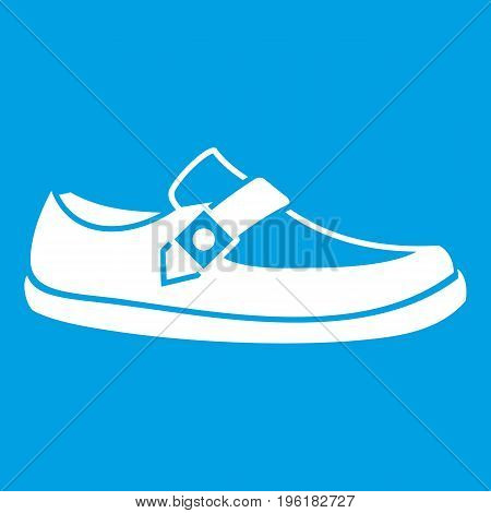 Men moccasin icon white isolated on blue background vector illustration