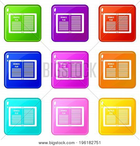 Business strategy plan icons of 9 color set isolated vector illustration