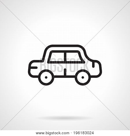 Abstract simple symbol of car. Travel, driving, driver service and other elements. Black line design vector icon.