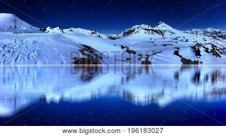 beautiful lake and snowy mountain by night