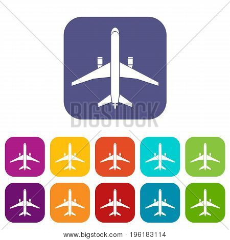 Plane icons set vector illustration in flat style in colors red, blue, green, and other