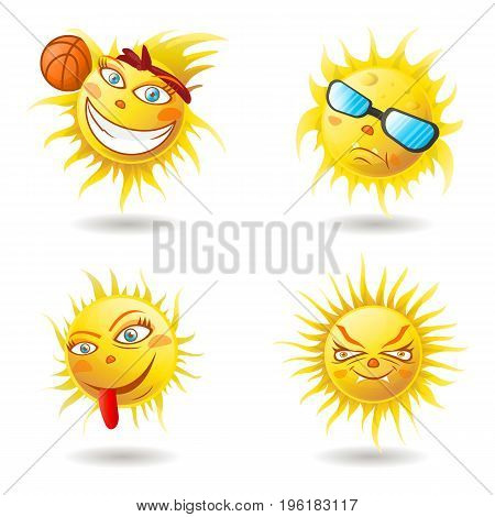 Spring Sun Face with sunglasses and Happy Smile. Vector Illustration