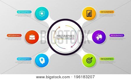 Circle infographics. emplate for diagram graph presentation and chart. Vector illustration with 6 steps