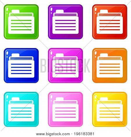 File folder icons of 9 color set isolated vector illustration