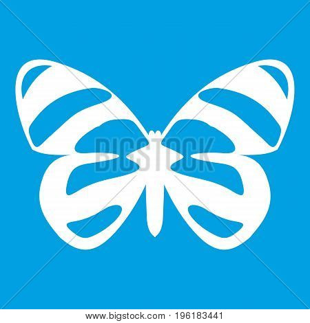 Butterfly icon white isolated on blue background vector illustration