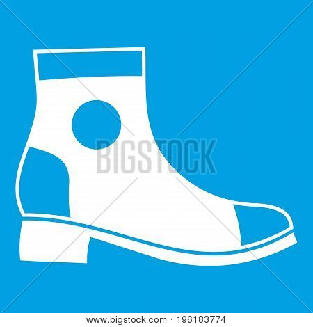Men boot icon white isolated on blue background vector illustration