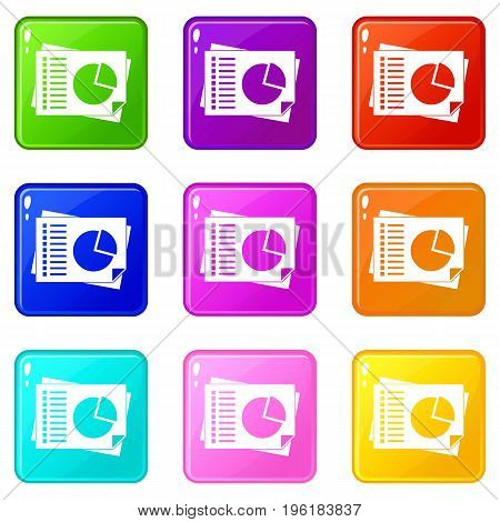 Sheets of paper with charts icons of 9 color set isolated vector illustration