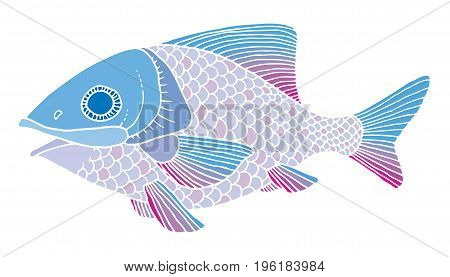richly decorated fish vector hand drawing illustration