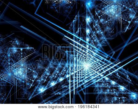Chaotic triangles, light spots and lines - abstract computer-generated image. Technology or sci-fi blue fractal background with perspective composition. For banners, covers, posters.