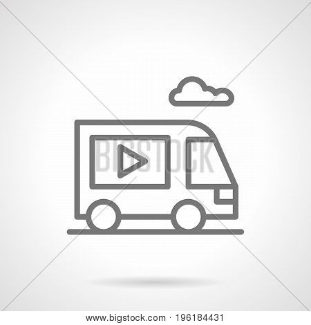 Abstract symbol of van with display for ads. Outdoor and video advertising elements. Gray simple line design vector icon.