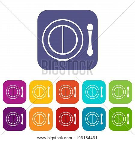 Shadow kit with applicator icons set vector illustration in flat style in colors red, blue, green, and other