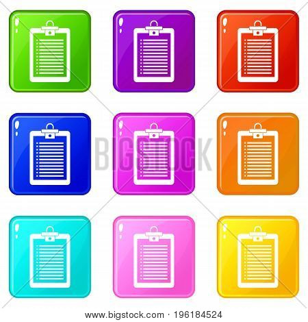 Clipboard with check list icons of 9 color set isolated vector illustration