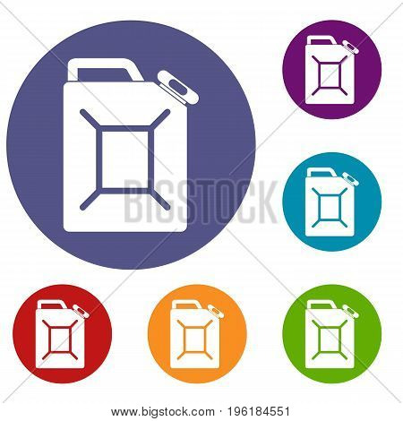 Fuel jerrycan icons set in flat circle red, blue and green color for web
