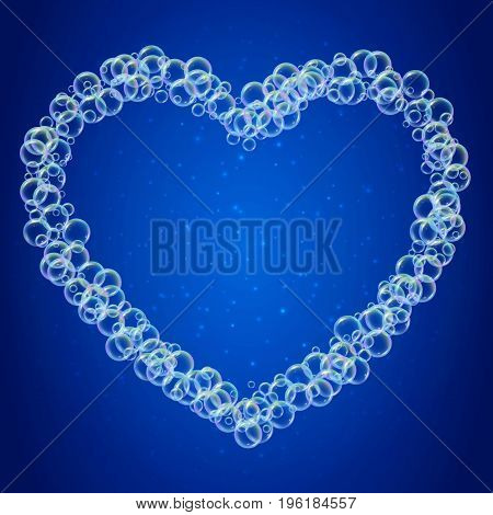 Shampoo foam in heart shape with realistic water bubbles on shiny blue background. Cleaning liquid soap foam for bath and shower. Shampoo rainbow bubbles. Swimming pool flyer and invite.