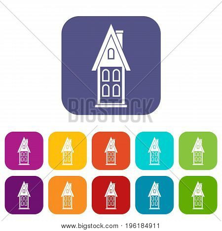 Two storey house with attic icons set vector illustration in flat style in colors red, blue, green, and other