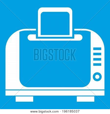 Toaster icon white isolated on blue background vector illustration