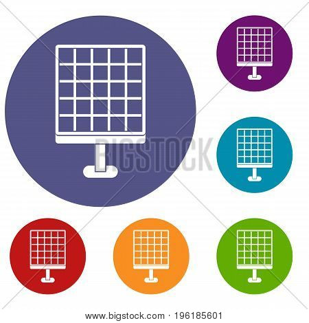 Solar panel icons set in flat circle red, blue and green color for web