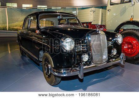 STUTTGART GERMANY- MARCH 19 2016: The mid-size luxury car Mercedes-Benz 180 (W120) 1955. Mercedes-Benz Museum.