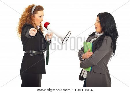 Manager Shouting Employee Into Megaphone