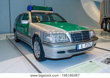 STUTTGART GERMANY- MARCH 19 2016: Police station wagon Mercedes-Benz C 220 CDI T-Modell 2000. Mercedes-Benz Museum.