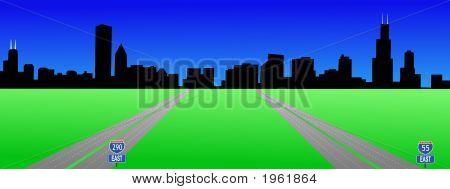 Chicago Skyline And Interstates